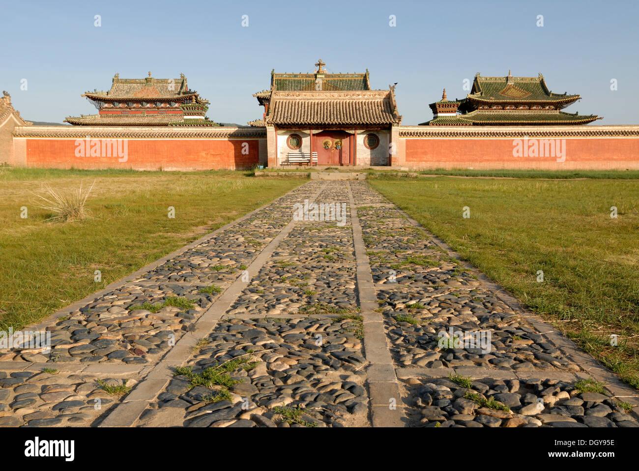 Temple in the inner complex of Erdene Zuu Khiid Monastery, Karakorum, Kharkhorin, Oevoerkhangai Aimak, Mongolia, Asia - Stock Image
