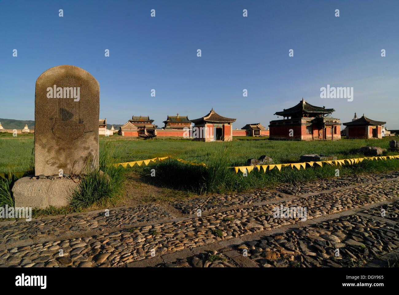 Temples and stone slabs at Erdene Zuu Khiid Monastery, Karakorum, Kharkhorin, Oevoerkhangai Aimak, Mongolia, Asia - Stock Image