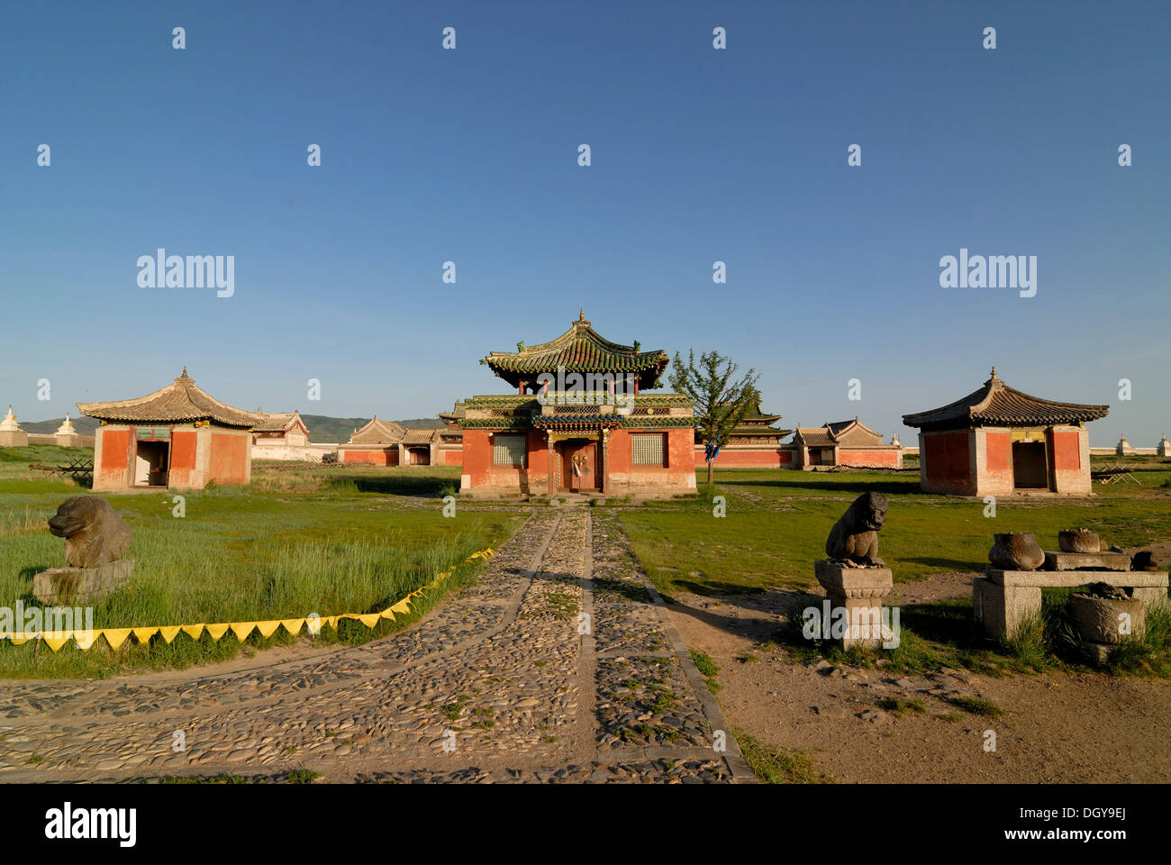 Temples inside the Erdene Zuu Khiid Monastery, Karakorum, Kharkhorin, Oevoerkhangai province, Mongolia, Asia - Stock Image