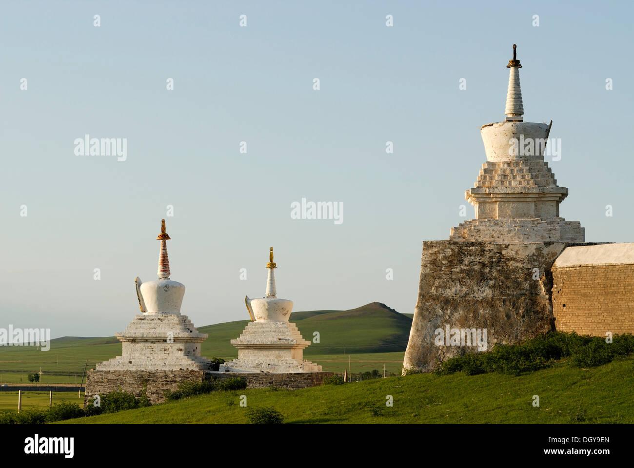 Stupa of the outer wall of the Erdene Zuu Khiid Monastery, Karakorum, Kharkhorin, Oevoerkhangai province, Mongolia, Asia - Stock Image