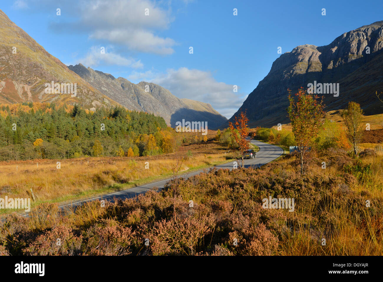 A82 road, autumn in the Valley of Glencoe, Scottish Highlands, Scotland, United Kingdom, Europe - Stock Image