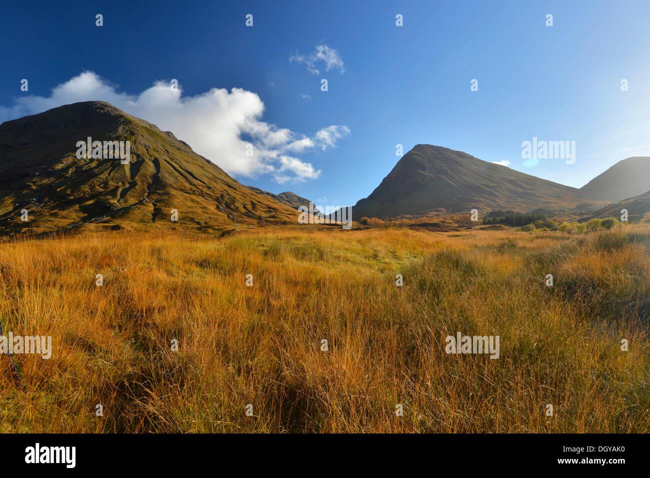 Autumn in the Valley of Glencoe, Scottish Highlands, Scotland, United Kingdom, Europe - Stock Image