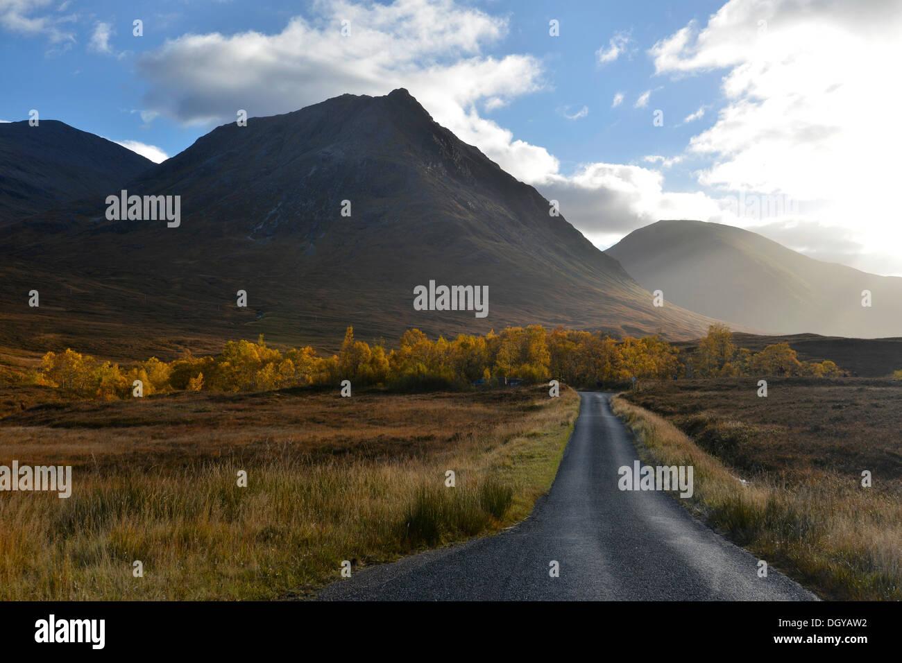 Autumn in the Valley of Glen Etive, Scottish Highlands, Scotland, United Kingdom, Europe - Stock Image