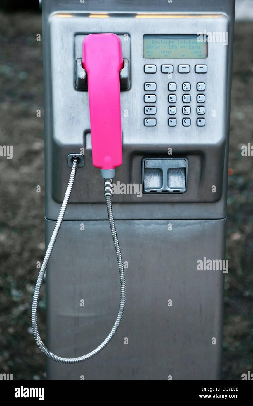 Card payphone of the German Telekom, exterior telephone, Hamburg - Stock Image