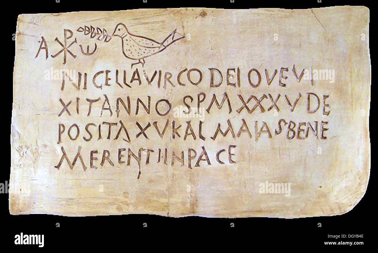 5542 Funerary Inscription From Roman Catacombs Bearing The Early