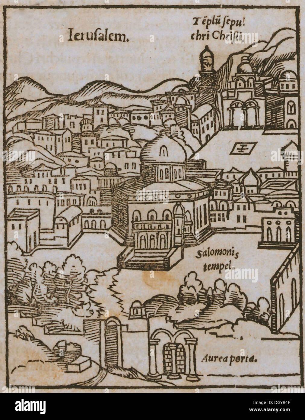 5543. Woodcut map of Jerusalem by Muenster Sebastian, 1489-1552. Temple Mt. in centre - Stock Image