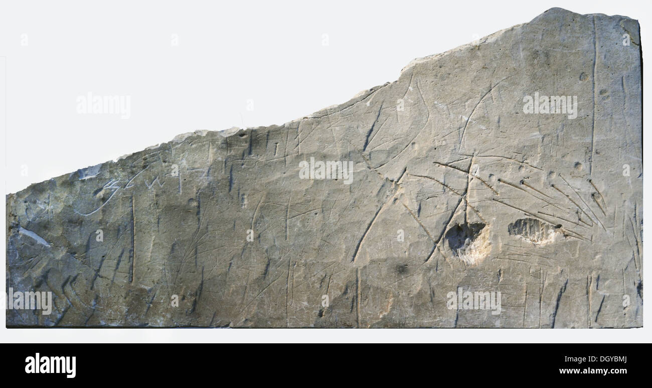 5744. Hebrew burial inscription from Beth Loya, Judean foothills dating 6th. C. BC. The inscription reads: YHWH the God of the whole earth, the mountains of Judah belong to him, to the god of Jerusalem. - Stock Image