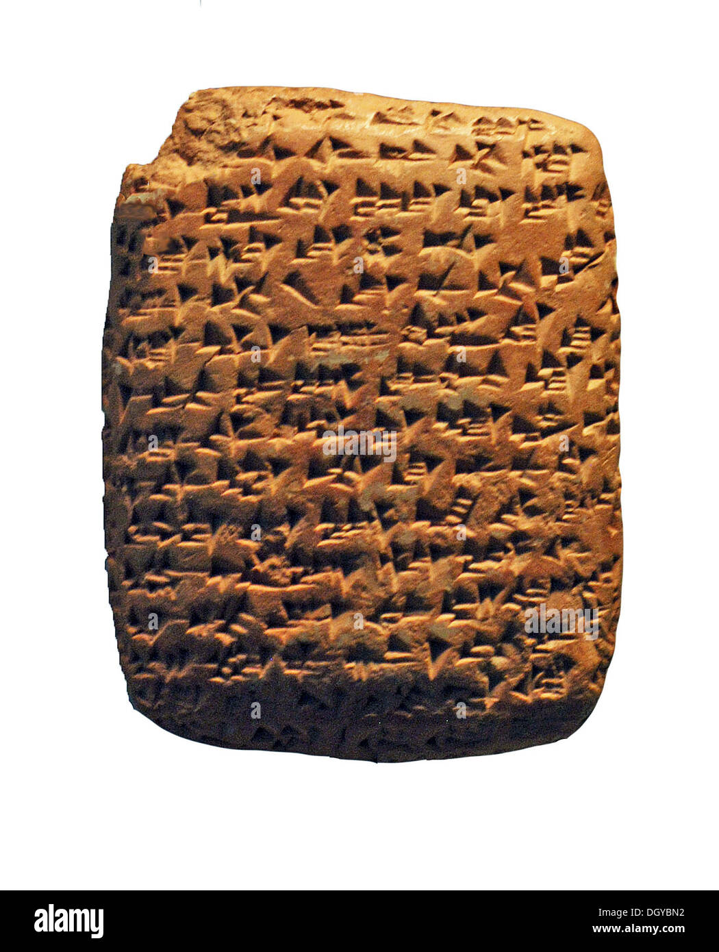 5752. Akkadian quniform letter sent from Canaan to Egypt mentioning granaries in Jaffa. Tel Amarna, 14th. C. BC. - Stock Image