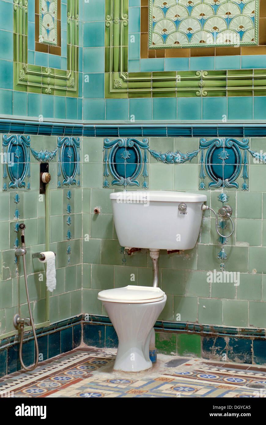 Bathroom tiled with Belgian tiles, Heritage Hotel Raj Niwas Palace ...