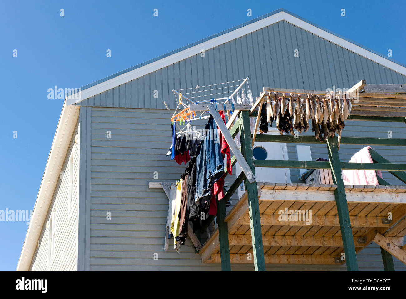 Dried fish and laundry on a balcony, Tasiilaq or Ammassalik, East Greenland, Greenland - Stock Image