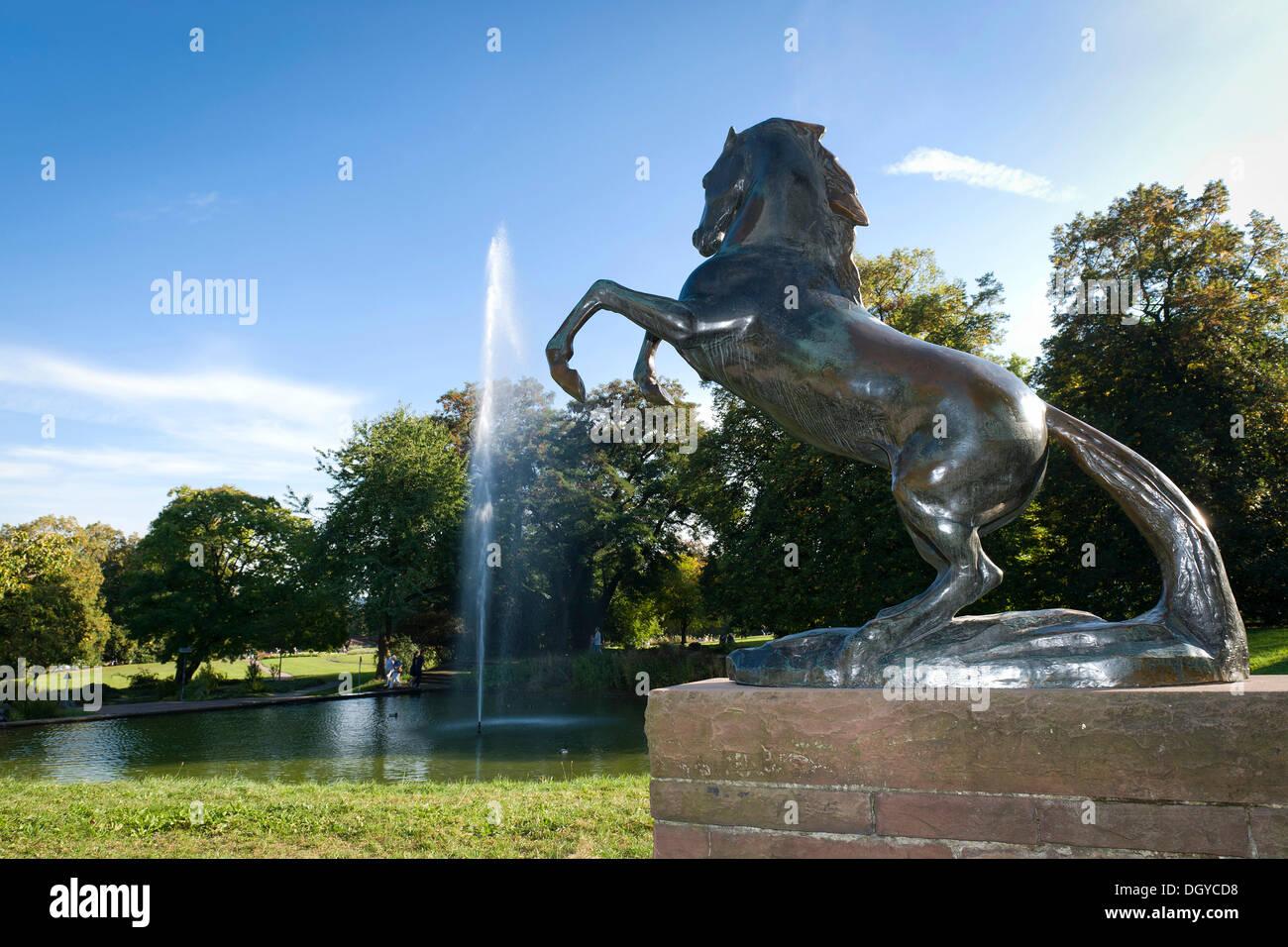 Horse sculpture, the heraldic animal of Stuttgart, Killesberg Park, Stuttgart, Baden-Wuerttemberg - Stock Image