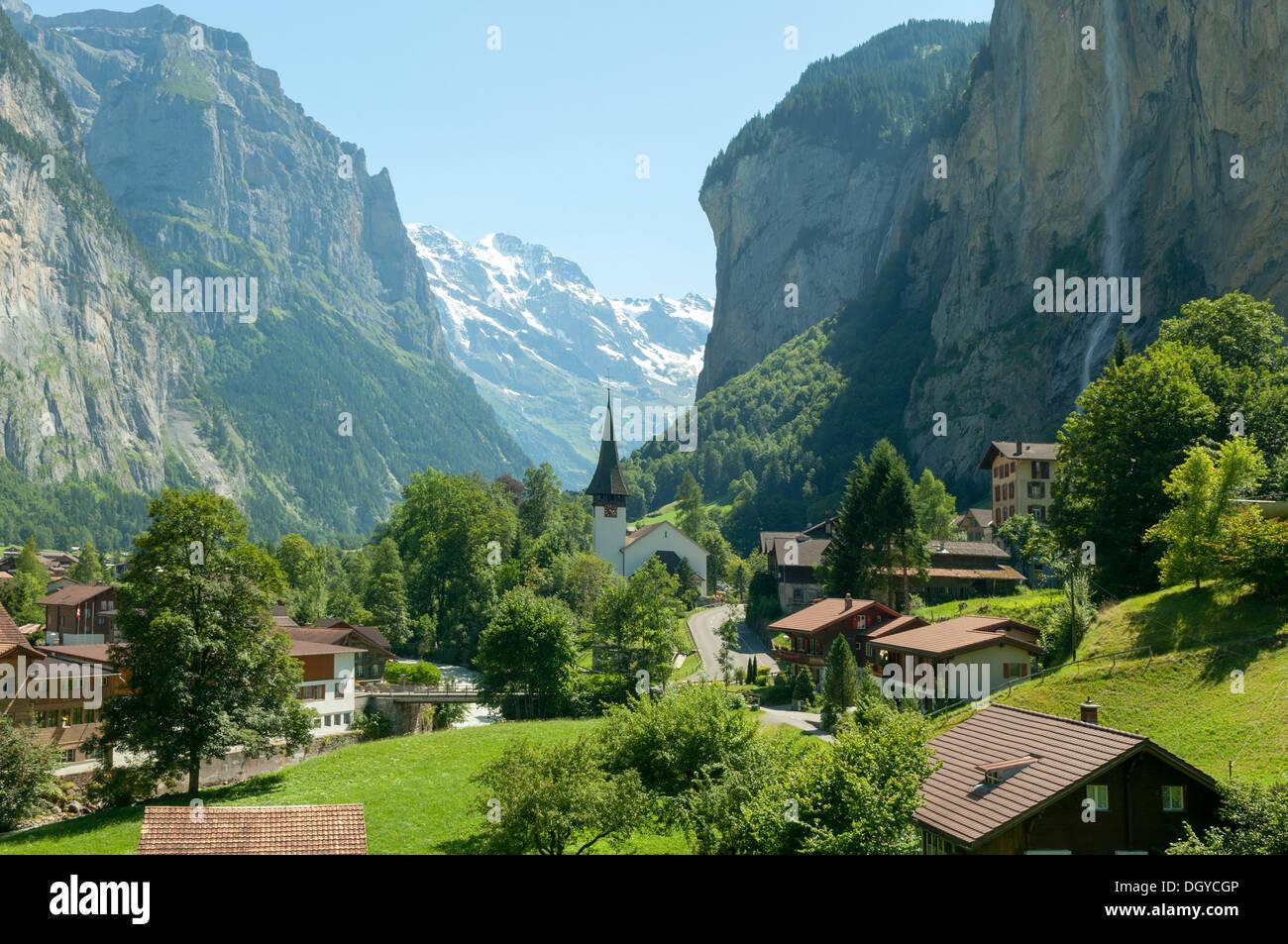 Valley of Waterfalls, Lauterbrunnen, Switzerland - Stock Image