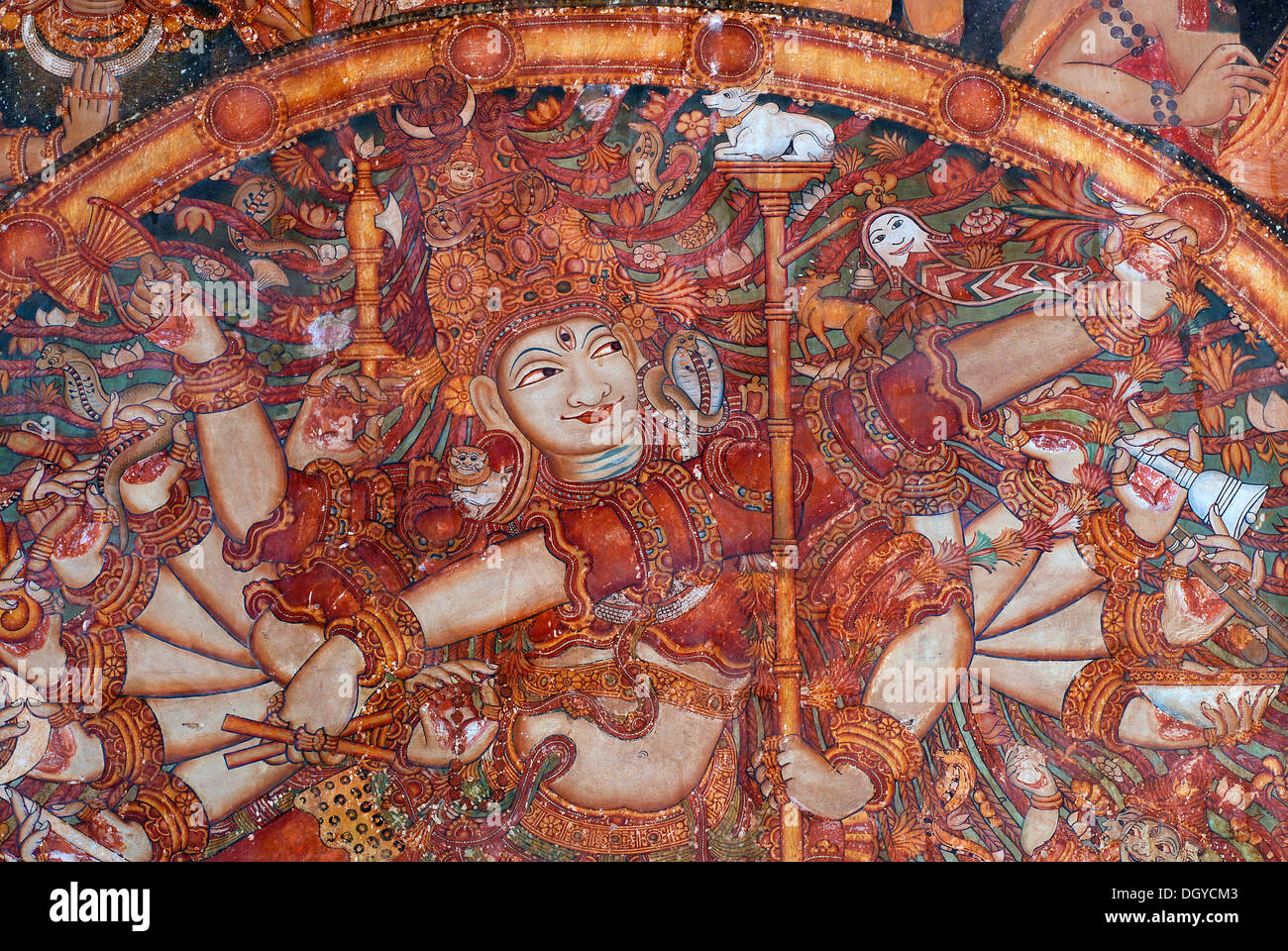 Fresco of the god Shiva, Temple of Ettumanur, Kerala, South India, India, Asia - Stock Image