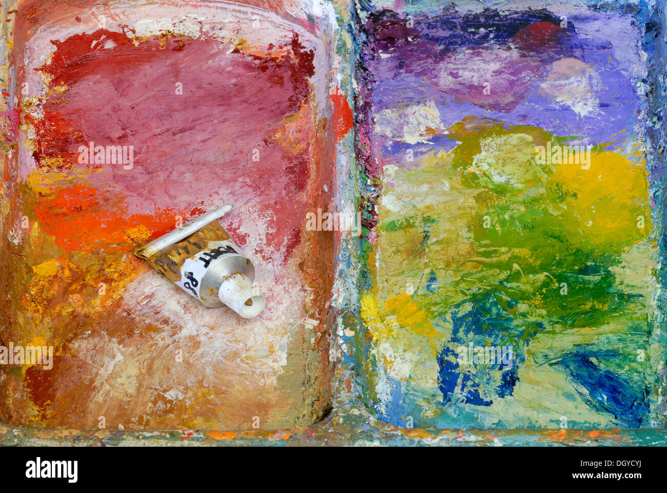 Tube of paint on a painter's palette, oil paints, Zurich, Switzerland, Europe Stock Photo
