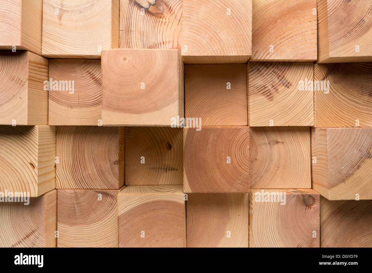A grid of wooden blocks arranged in varying lengths - Stock Image