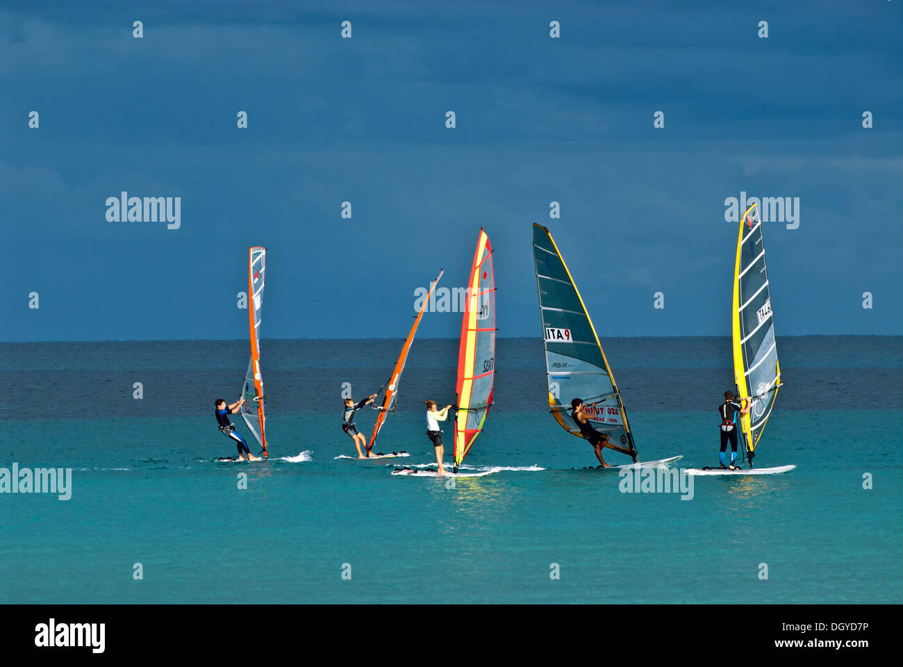 Wind Surfing, Sicily, Italy - Stock Image