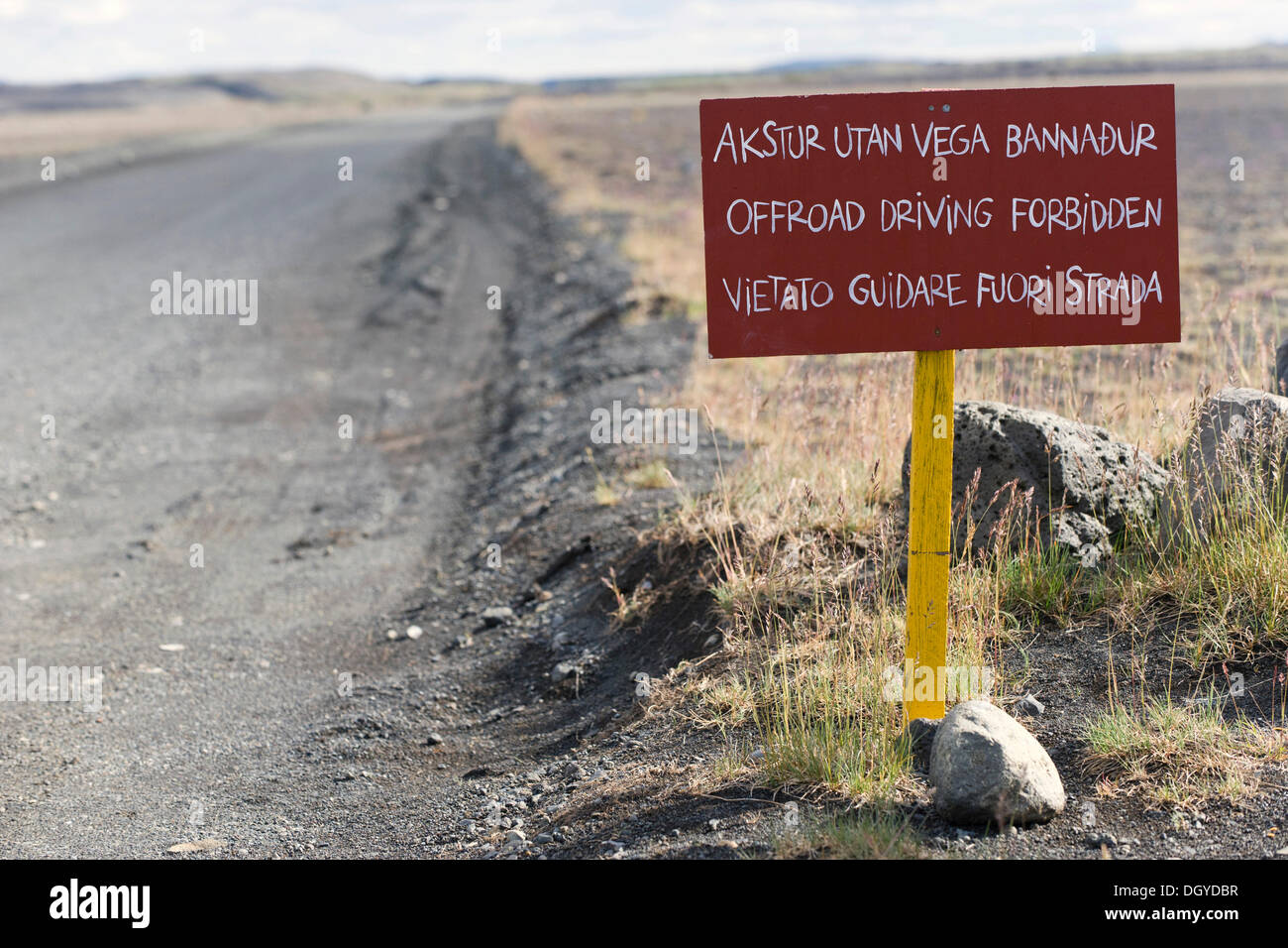 Prohibition sign off-road driving, Ring Road, northern Iceland, Europe - Stock Image