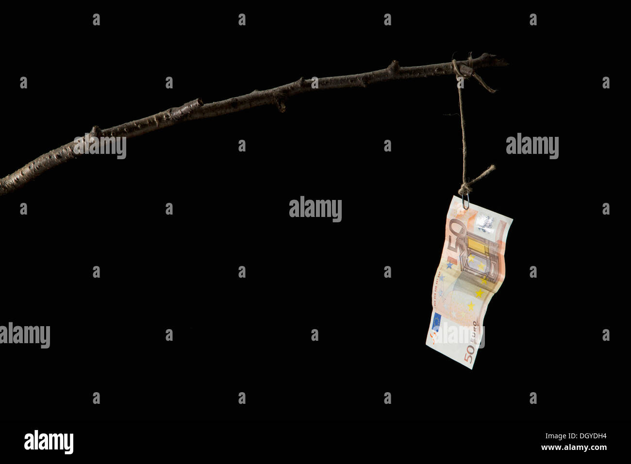 A fifty Euro banknote dangling from a crude fishing rod - Stock Image
