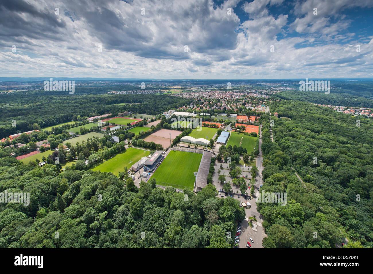Waldau sports facilities, view from Stuttgart TV tower, Stuttgart, Baden-Wuerttemberg - Stock Image