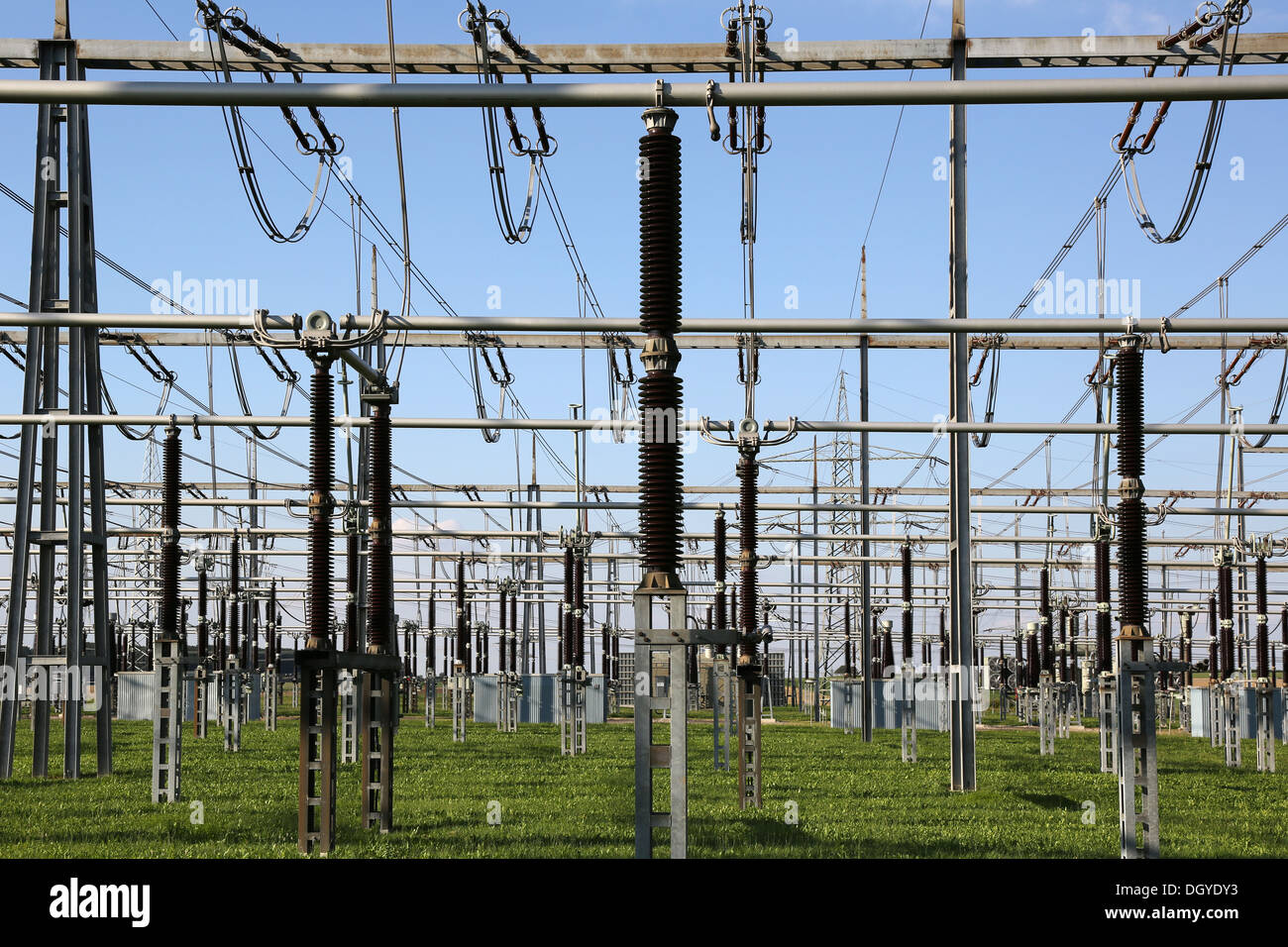 An electrical substation with transformers and resistors - Stock Image