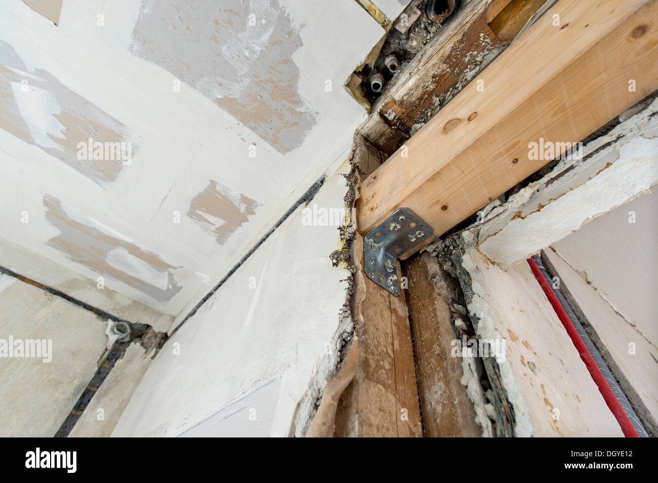 New beam construction for a wall opening in an old building, Stuttgart, Baden-Wuerttemberg - Stock Image