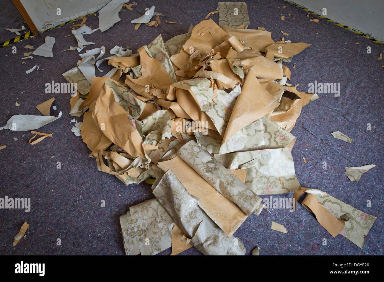 Heap of removed wallpaper scraps from the sixties, Stuttgart, Baden-Wuerttemberg - Stock Image