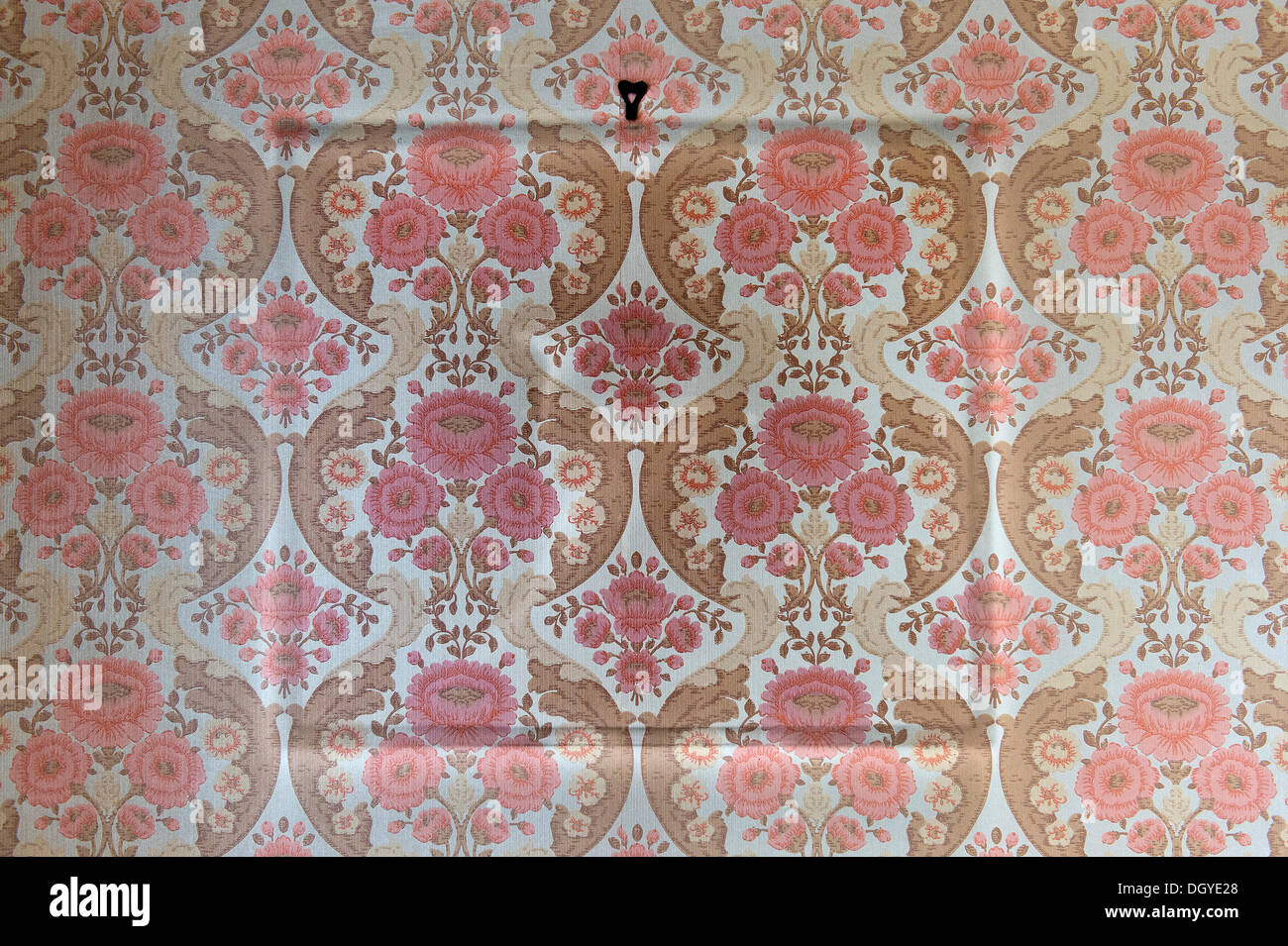 Old wallpaper from the sixties, outlines of a removed photo frame on the wall, Stuttgart, Baden-Wuerttemberg - Stock Image