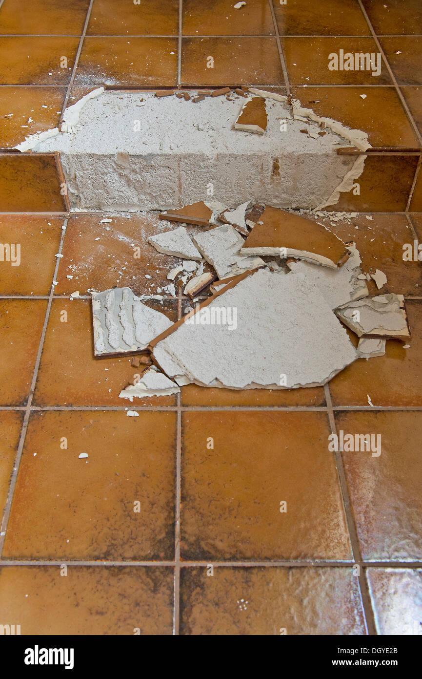 Shattered tiles, old bathroom from the seventies, Stuttgart, Baden-Wuerttemberg - Stock Image