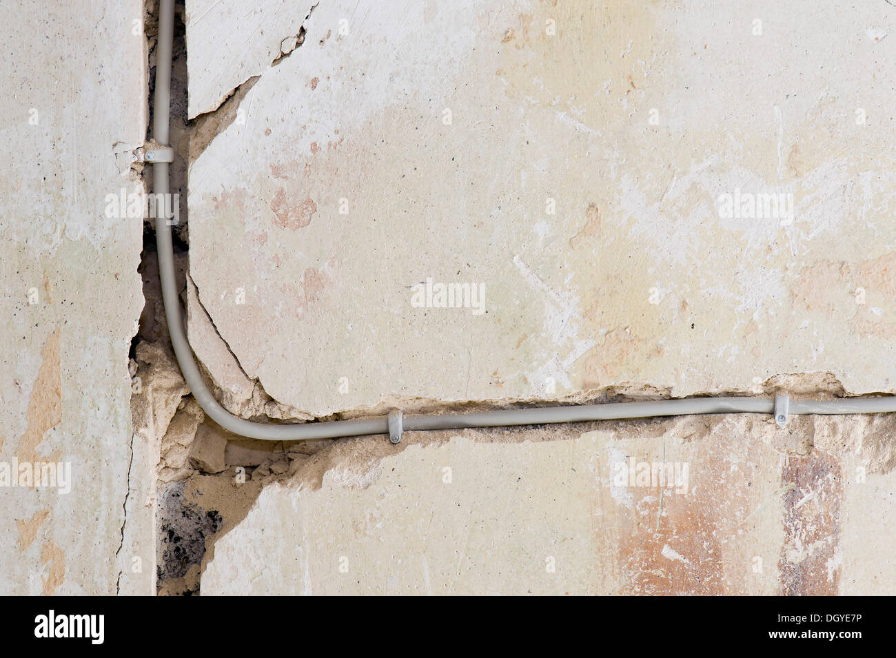 Electric cable laid under plaster in a cable canal in an old building, Stuttgart, Baden-Wuerttemberg - Stock Image