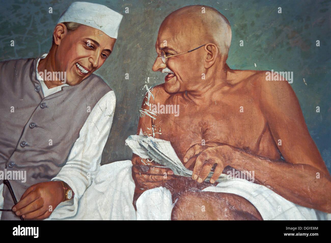 Painting, Pandit Jawaharlal Nehru, India's first prime minister with Gandhi, Aga Khan Palace, Pune or Poona, Maharashtra, India - Stock Image