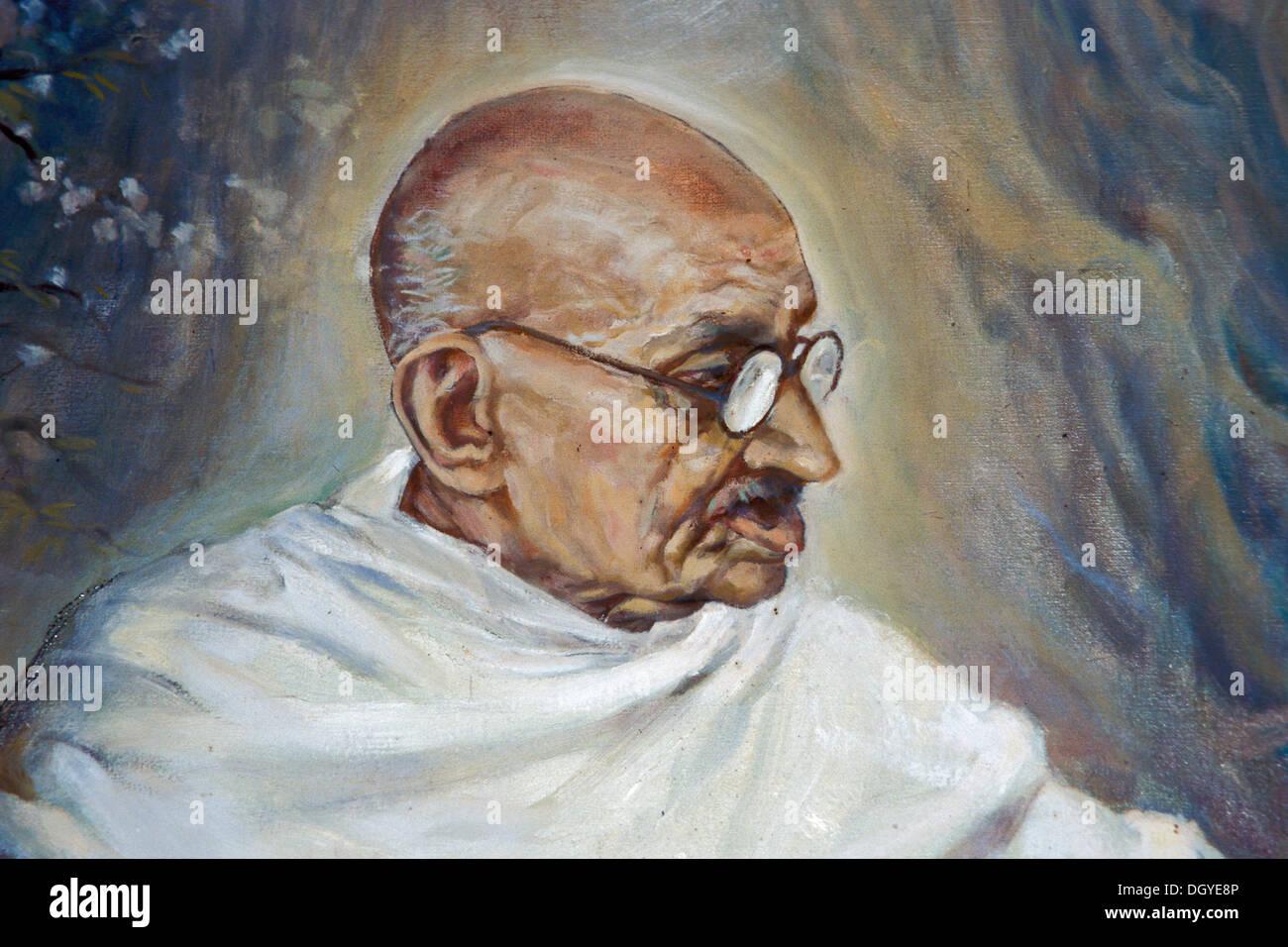 Portrait of the old Mahatma Gandhi, painting, Aga Khan Palace, Pune or Poona, Maharashtra, India, Asia - Stock Image