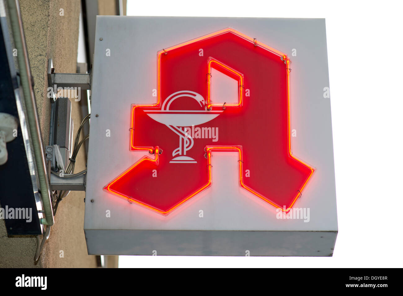Pharmacy sign, pharmacy logo, a red letter A with the Aesculapian snake, pharmacy, Stuttgart, Baden-Wuerttemberg - Stock Image