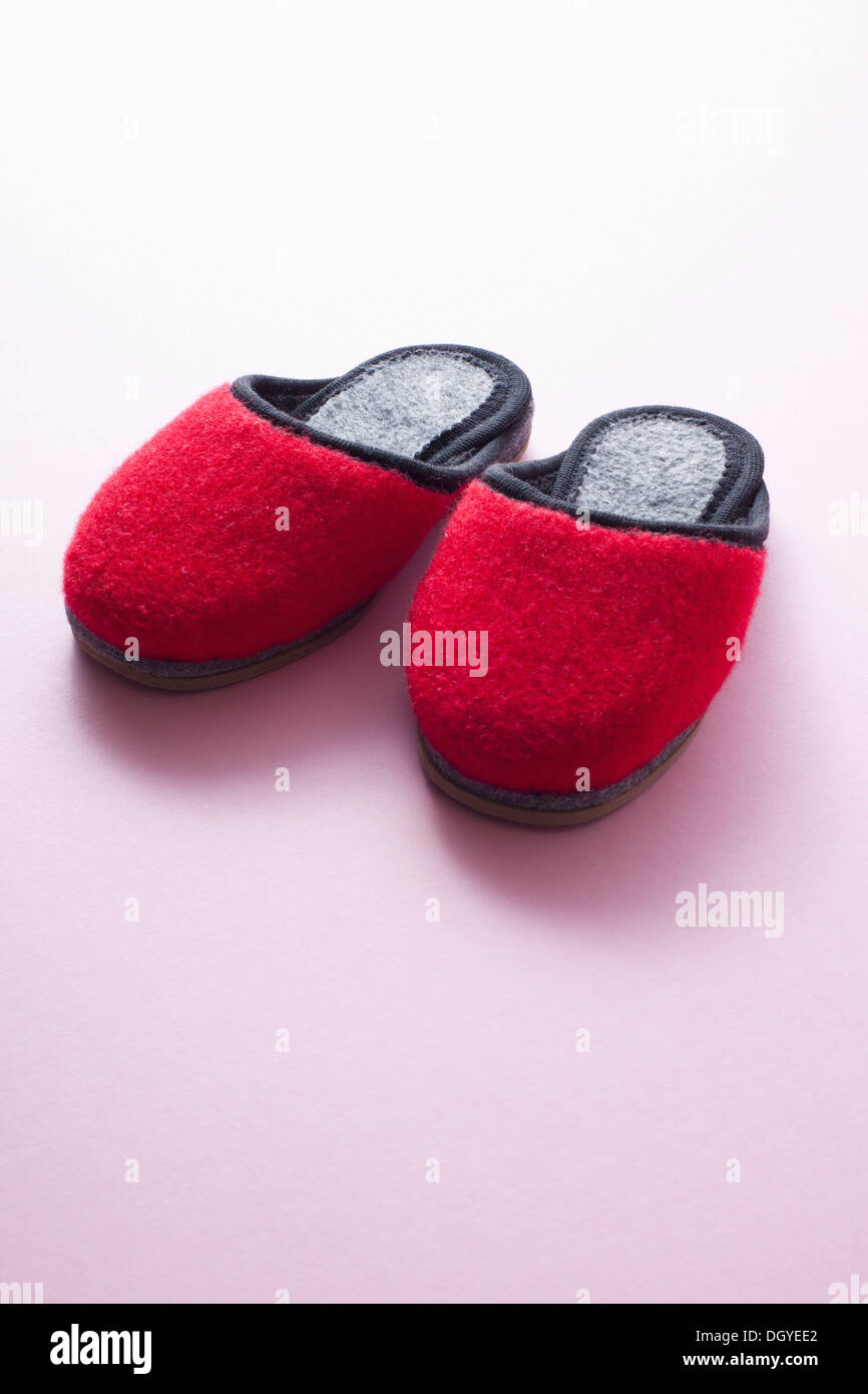 122129cf4d0 A pair of soft red slippers Stock Photo  62069674 - Alamy