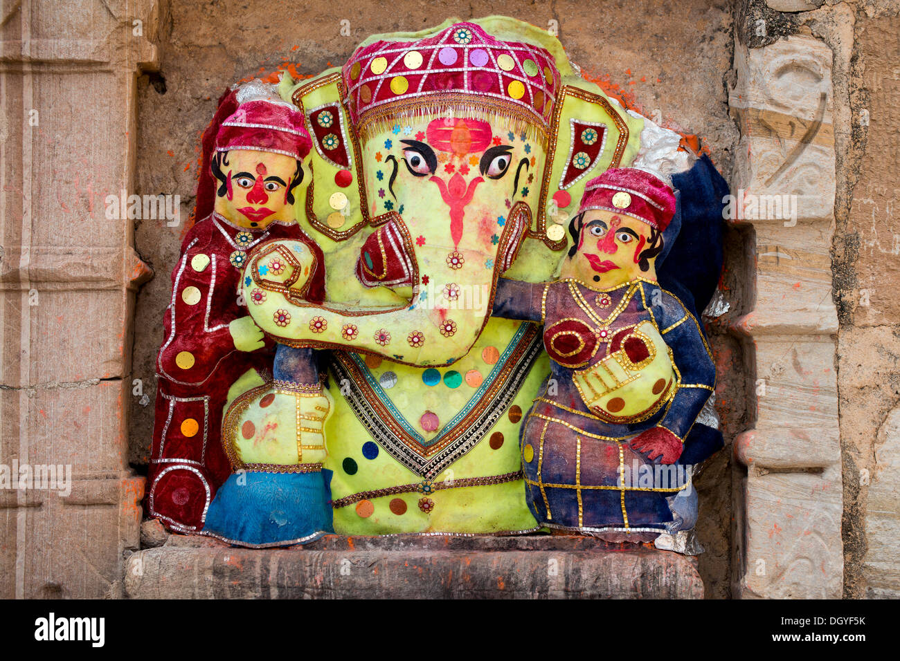 Shrine, popular portrayal of the elephant-headed god Ganesha, Chittorgarh, Rajasthan, India - Stock Image