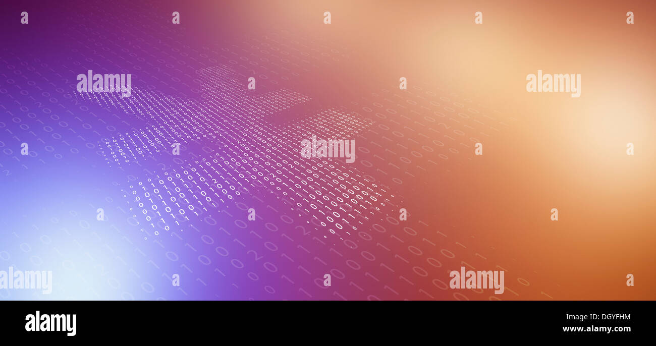Yen symbol made from binary numbers, reflected on color gradient surface - Stock Image