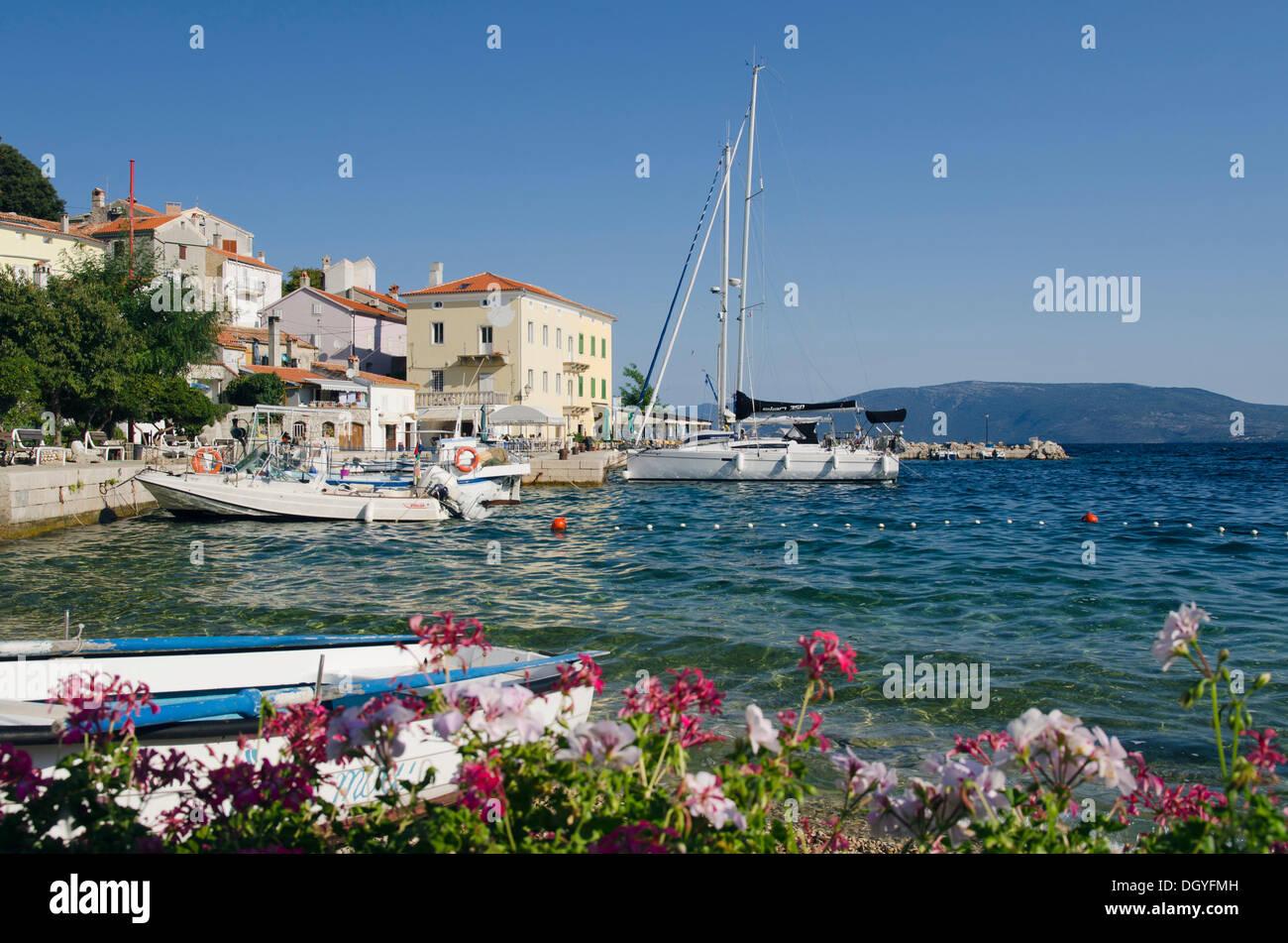 Boats in the fishing village of Valun, Cres Island, Adriatic Sea, Kvarner Gulf, Croatia, Europe Stock Photo