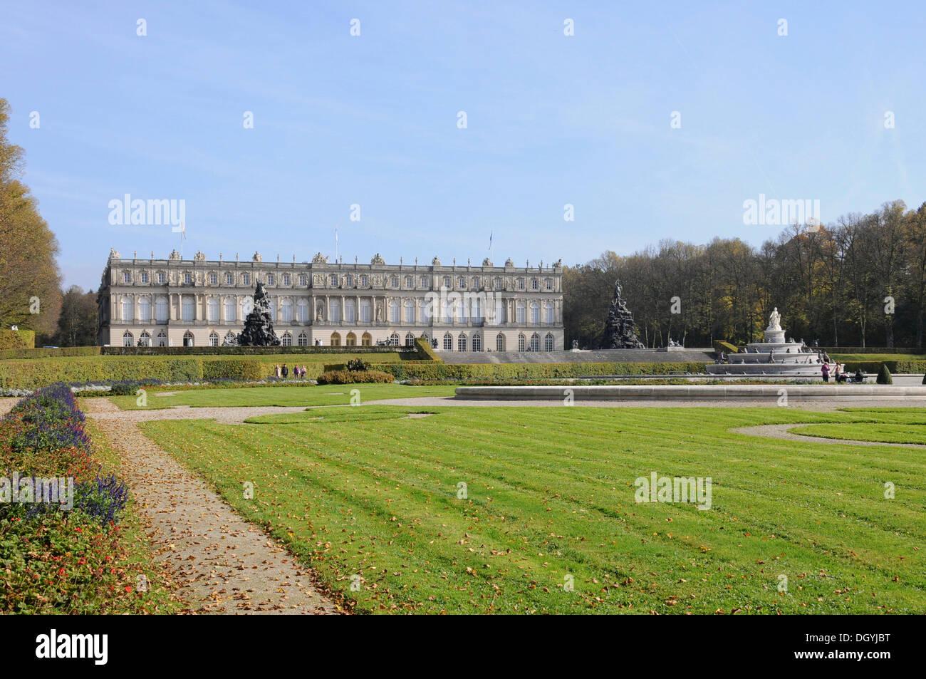 Palace grounds, palace, Herrenchiemsee, Herreninsel, Bavaria - Stock Image