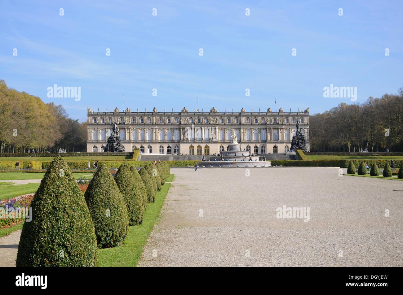 Palace grounds, palace, Herrenchiemsee, Herreninsel, Bavaria Stock Photo