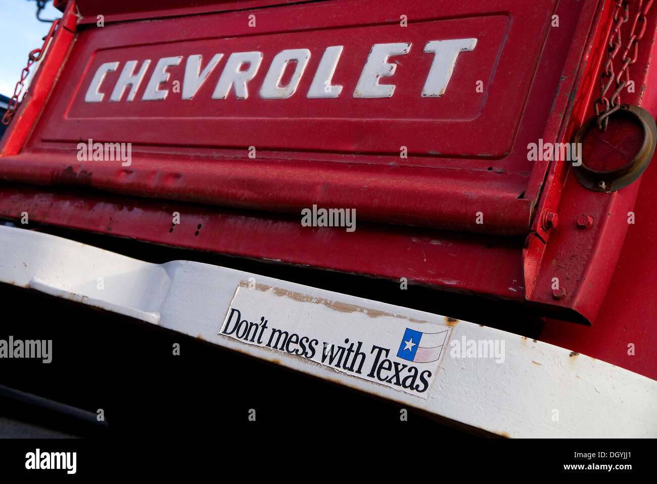 Classic Chevrolet pickup truck with 'Dont Mess with Texas' bumper sticker in Amarillo Texas USA - Stock Image