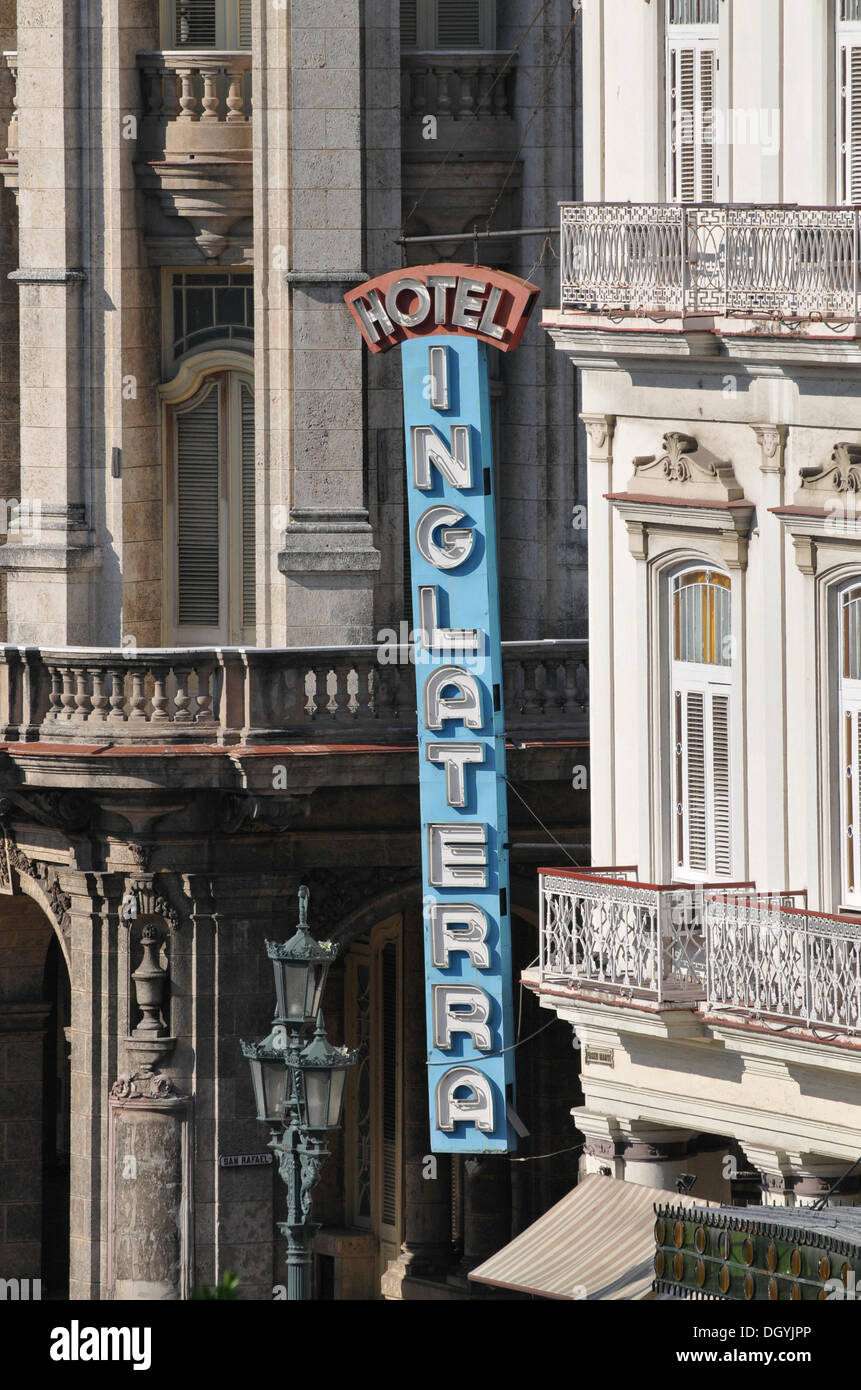 Inglaterra Hotel, Plaza Central square, historic district, Havana, Cuba, Caribbean, Central America - Stock Image