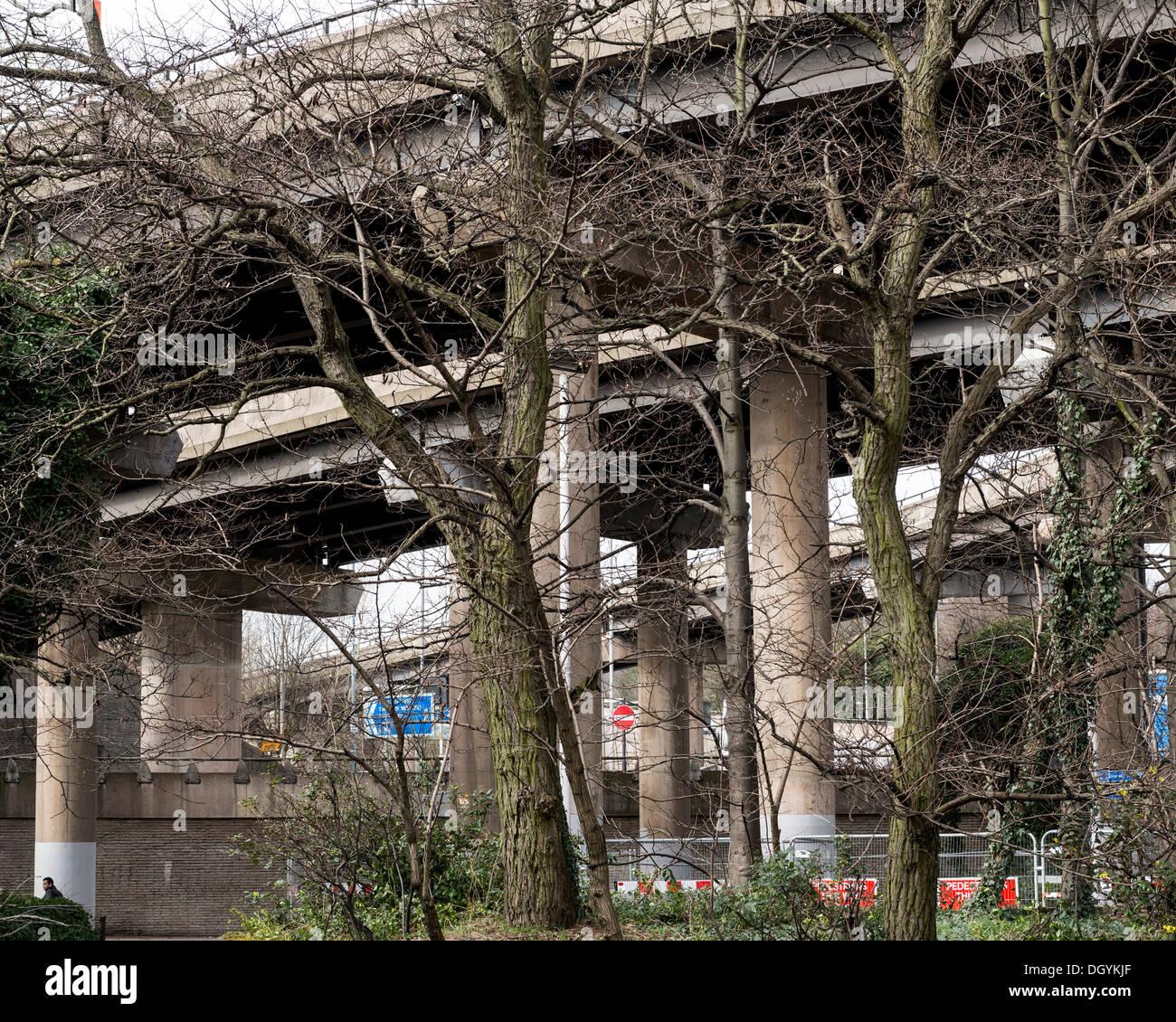 Spaghetti Junction (Gravelly Hill Interchange), Birmingham, United Kingdom. Architect: unknown, 1972. Roads and Stock Photo