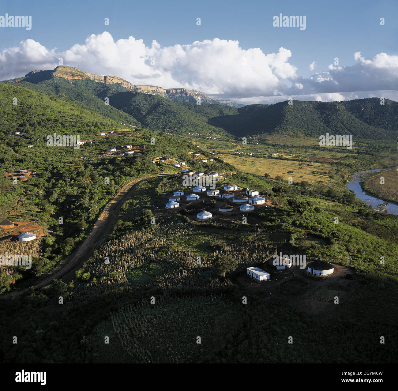 Umunzi, the Zulu Homestead consists of a circular enclave of dwellings, the home of a married man and his family. - Stock Image
