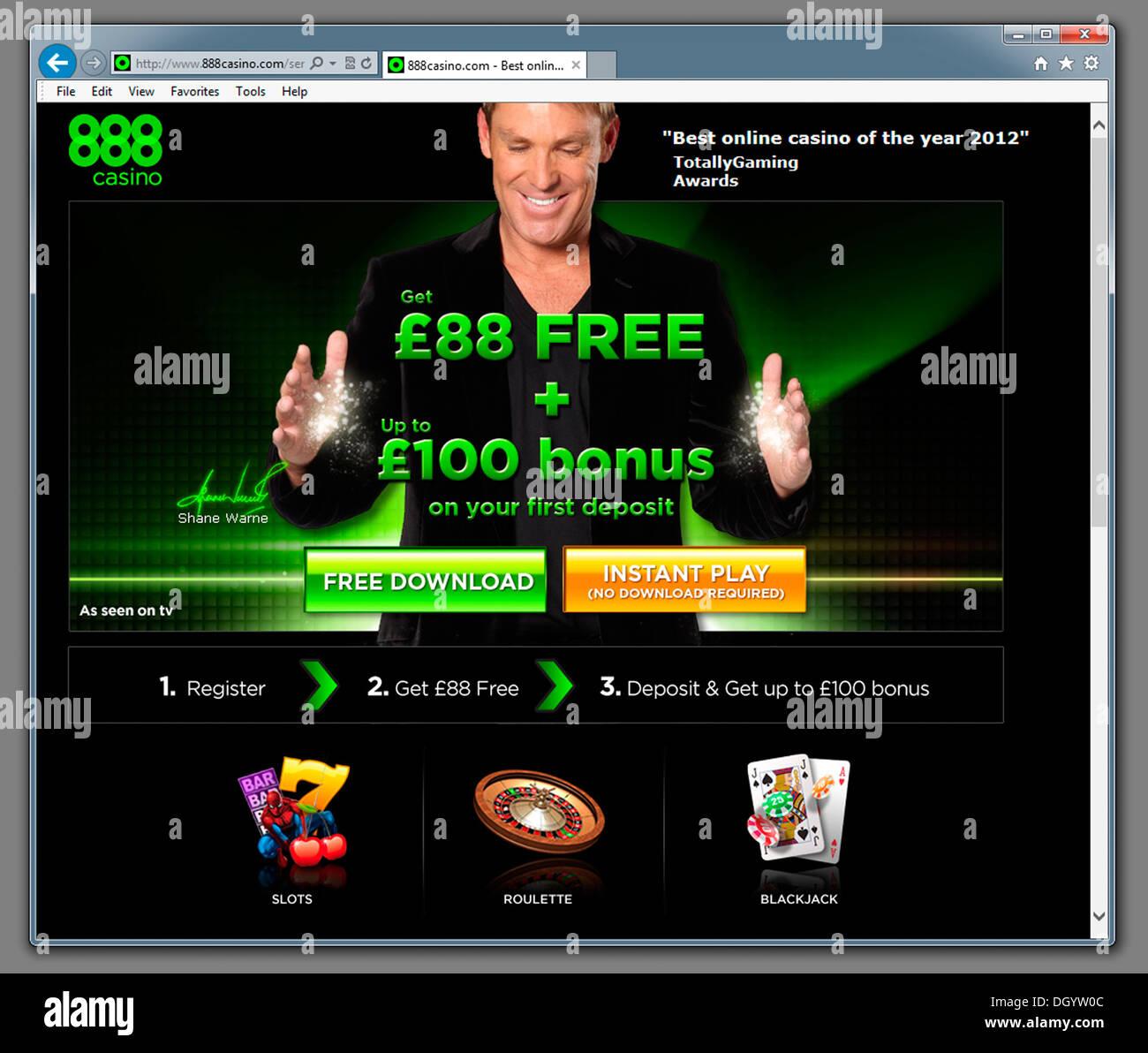 888 Casino Gambling Website. - Stock Image