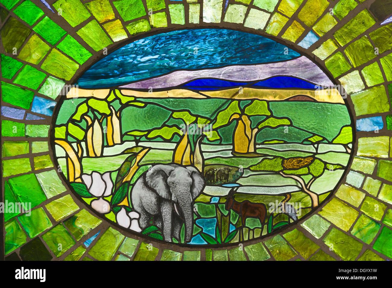 Tiffany glass showing landscape and African elephant (Loxodonta africana) in Tarangire National Park, Tanzania - Stock Image