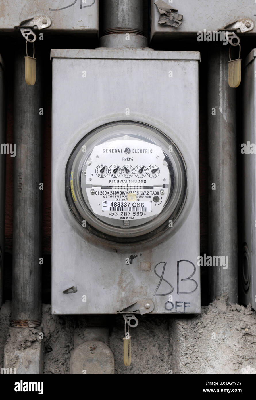 Electricity meter in Cebu, Philippines, Southeast Asia, Asia - Stock Image