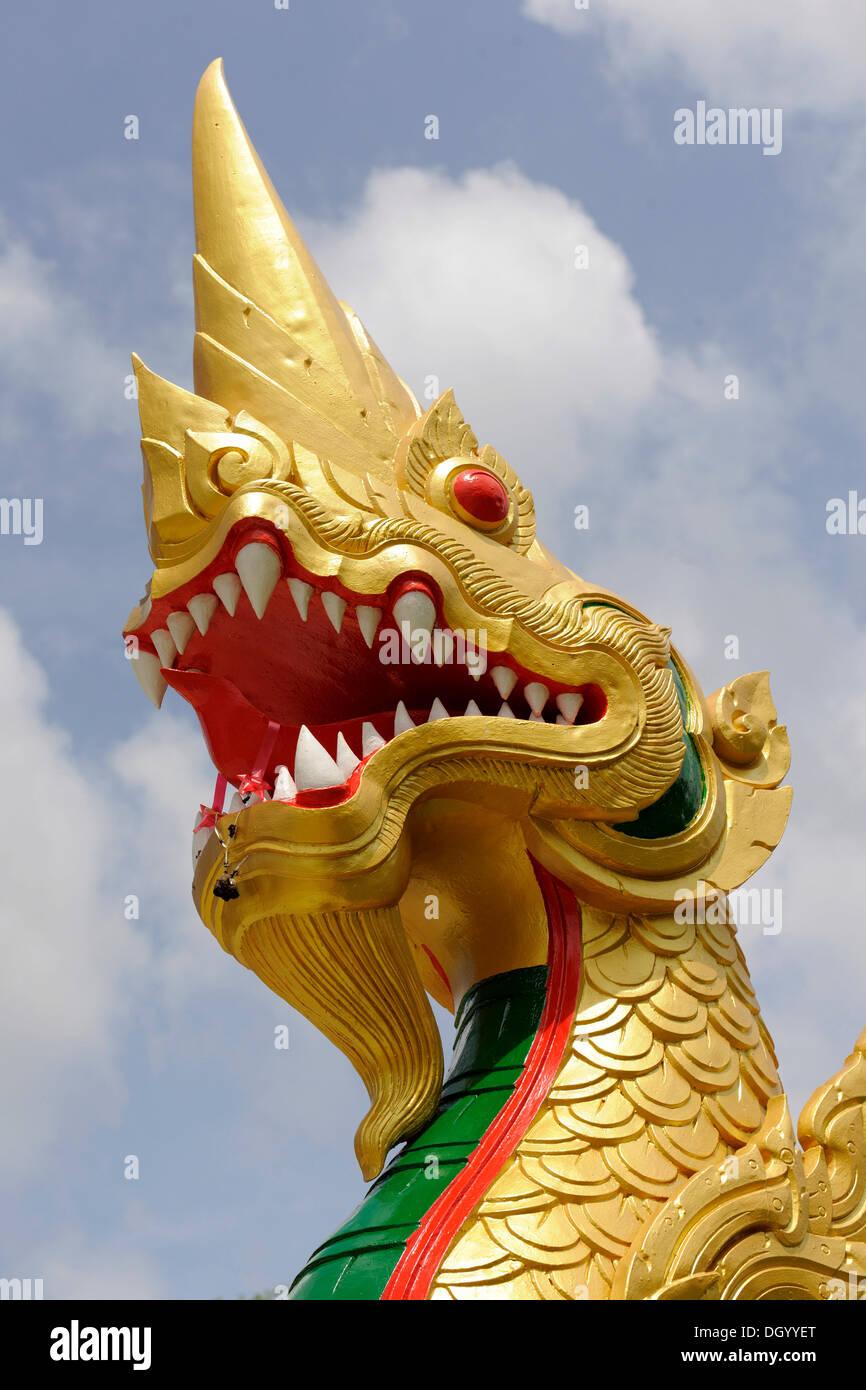 Dragon sculpture at the Wat Tham Sua Monastery, Krabi Town, Krabi, Thailand, Asia - Stock Image