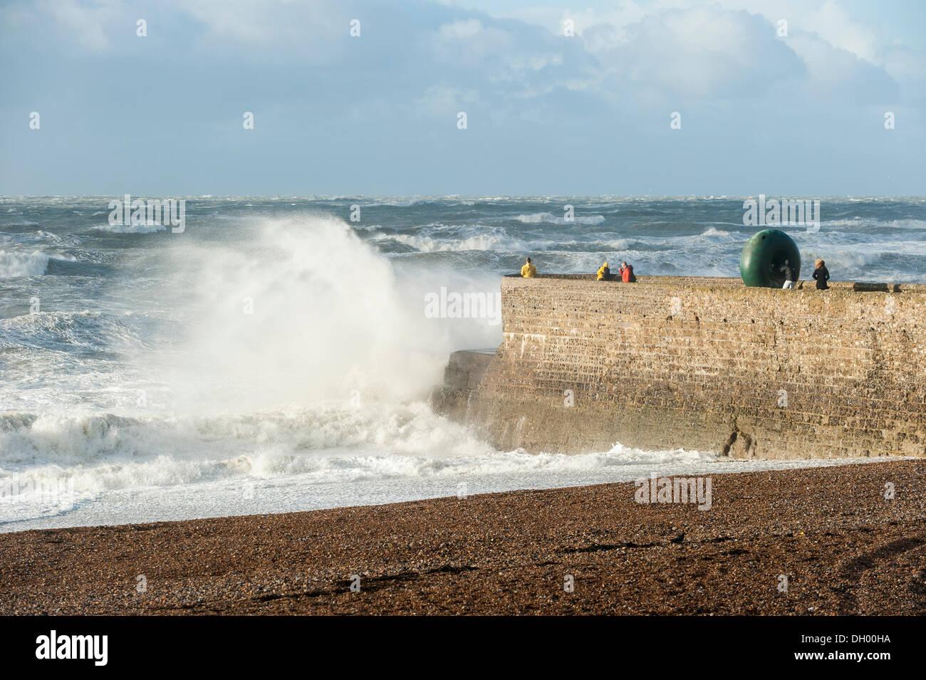 Brighton, UK. 28th Oct 2013. St Jude Storm hits southern UK coastline. Huge waves crashing on Brighton seafront Stock Photo