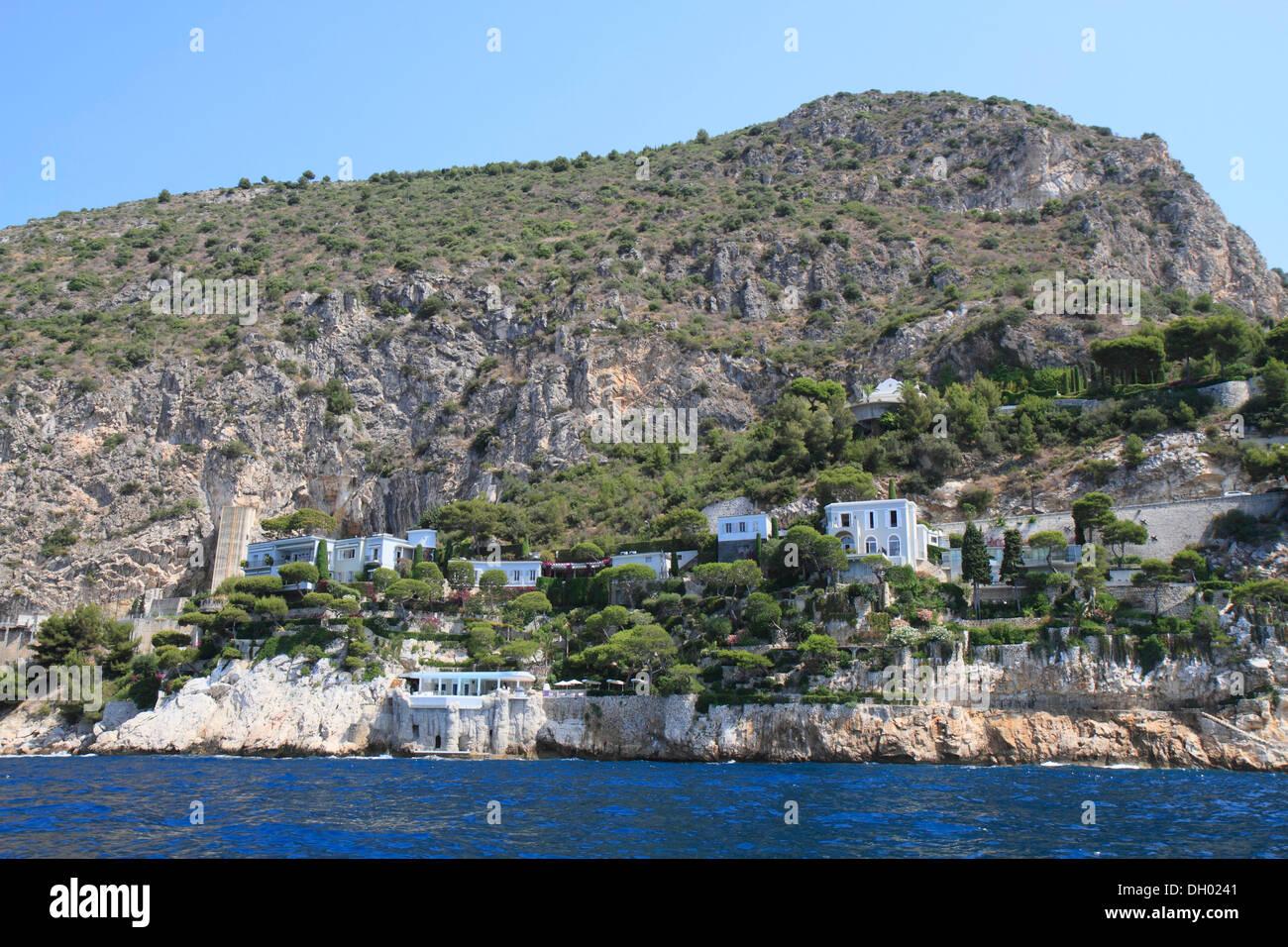 Beach villas at Eze Bord de Mer, Côte d'Azur, France, Mediterranean, Europe - Stock Image