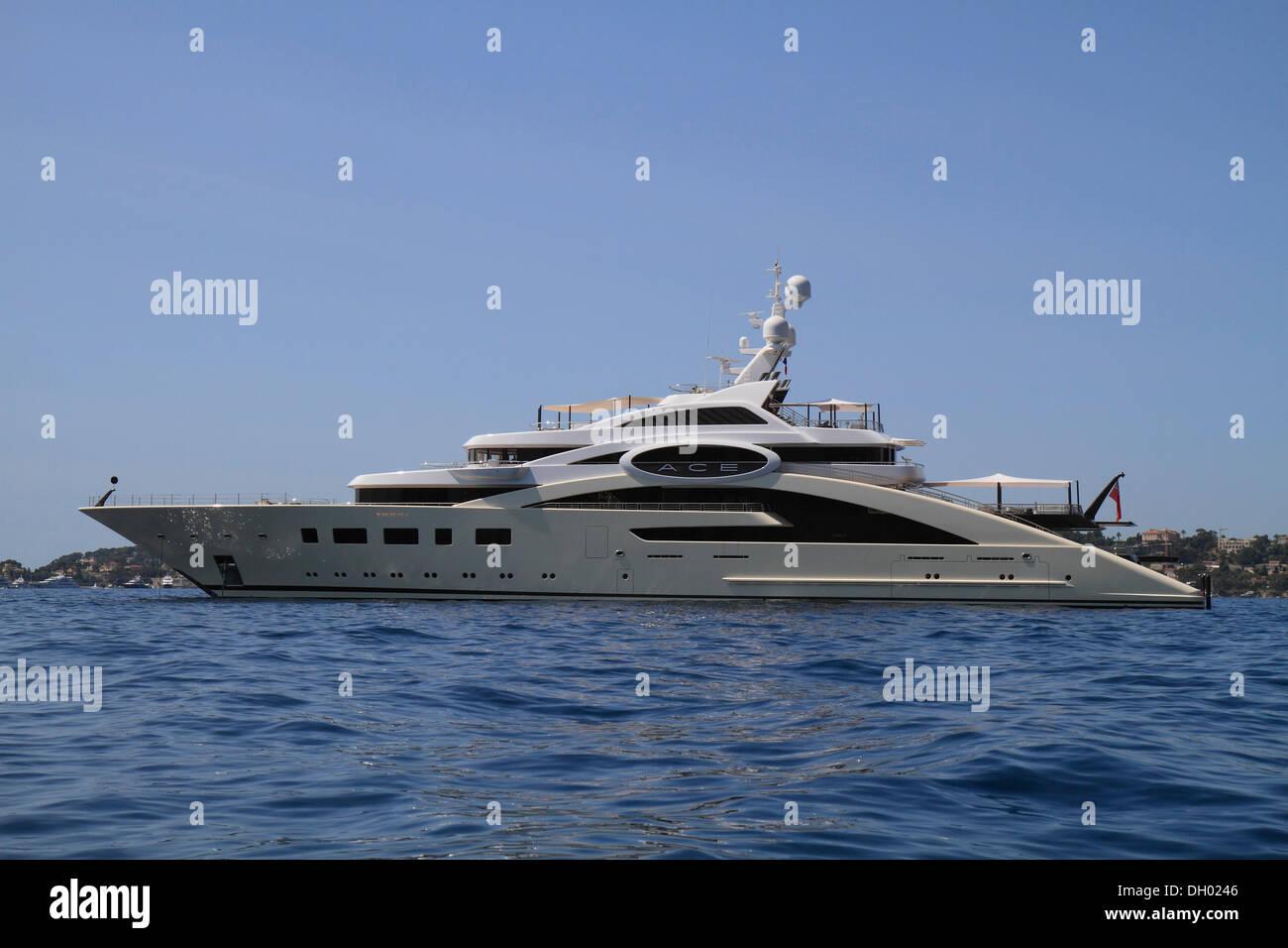 Motor yacht 'Ace' by shipyard Luerssen Yachts, length 87.0m, built in 2012m at Cap Ferrat, Côte d'Azur, France, Mediterranean - Stock Image