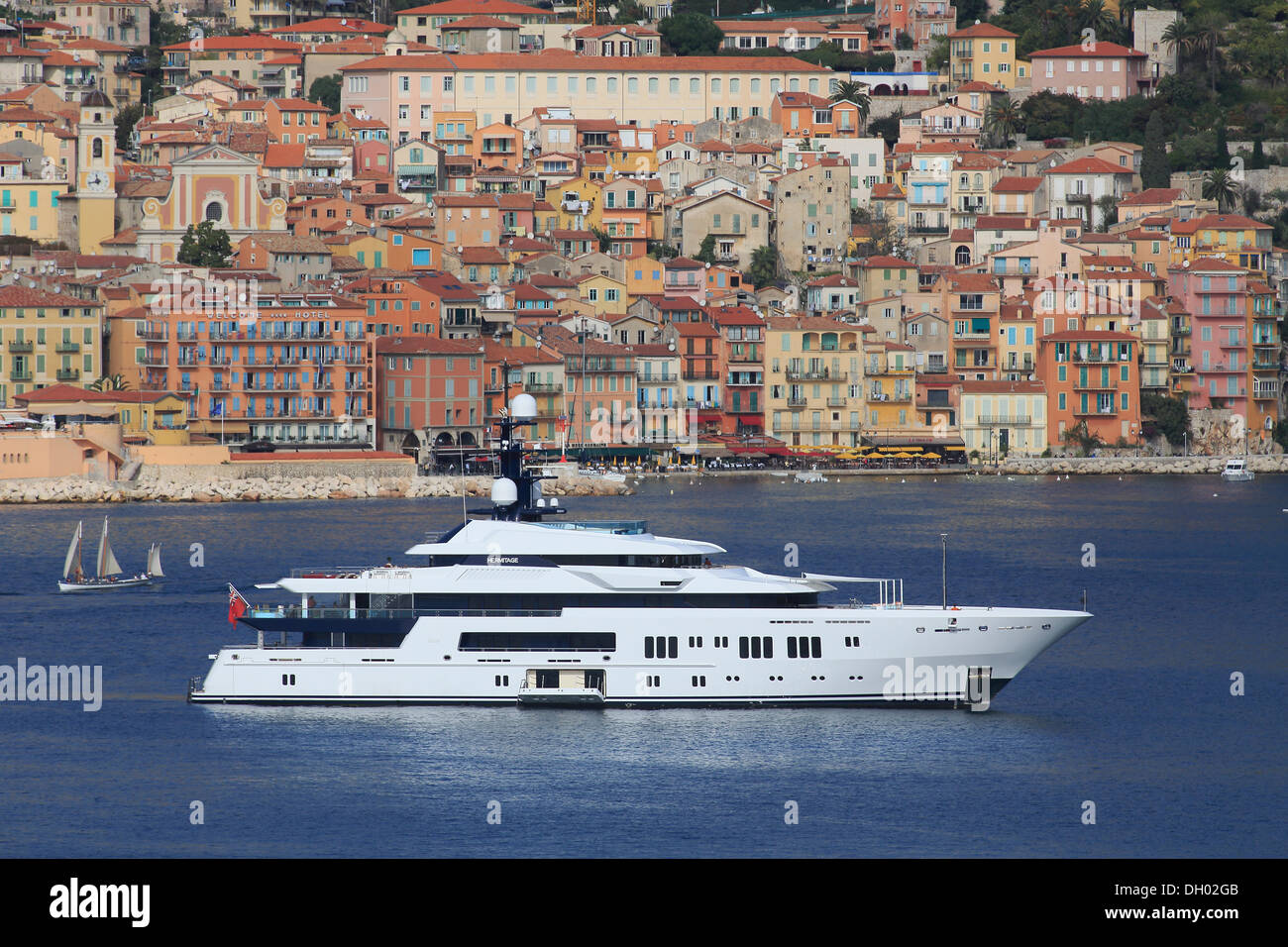 Hermitage, a cruiser built by Luerssen Yachts, length: 68.15 m, built in 2011, anchored off the bay of Villefranche Stock Photo